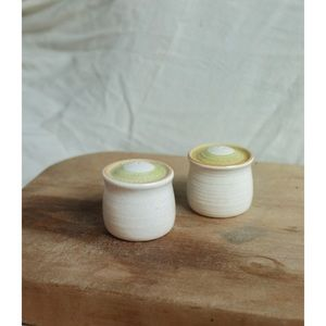 speckled ivory salt and pepper shakers